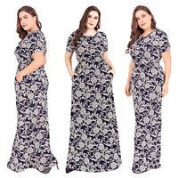 Plus Size Women Boho Long Maxi Dress Bodycon Slim Short Sleeve Print High Waist