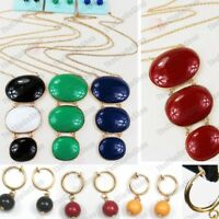 RETRO OVALS long NECKLACE SET bead CLIP ON mini hoop drop EARRINGS gold fashion