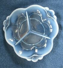 Duncan Miller Canterbury blue opalescent glass divided dish