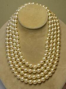 """JOAN RIVERS GOLD KNOTTED 10mm CREAM SIMULATED CZECH GLASS PEARL 75"""" NECKLACE NOS"""