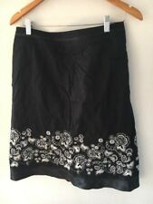 Skirt Size 12 Black Cotton Sequin Trim Tu <T16189