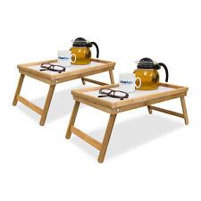 2x Betttablett Bambus Serviertablett Holztablett Frühstückstablett klappbar weiß