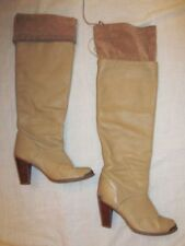 vintage ZODIAC tan western over the knee fold over high heel metal tip boots 7.5