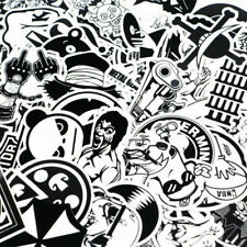 100 x black and white STICKER BOMB vinyl sticker bomb Skateboard Luggage UK