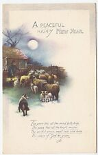 """* RAPHAEL TUCK """"WATER COLOUR"""" #N4070 -  A Peaceful & Happy New Year - c1920s era"""