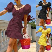 Women's Ladies Summer Puff Sleeve Deep V-Neck Bodycon Party Mini Dress Size 8-26