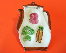 Vintage Ceramic COFFEE POT SPOON REST & Wall Hanging ~ Made in Japan c1960s ~ VG