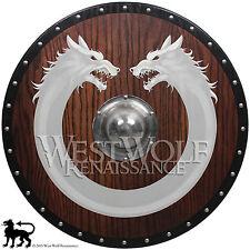 Red Oak Viking Wolf Ring Shield --- sca/larp/norse/fenrir/warrior/wooden/armor