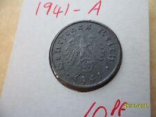 ALLEMAGNE 10 reichspfennig 1941-A Zinc Troisième Reich Coin WW2 PF Pfennig