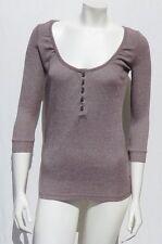 MICHAEL STARS USA #0176 Brown Stretch Cotton Shine Henley Tee Shirt Top size S M