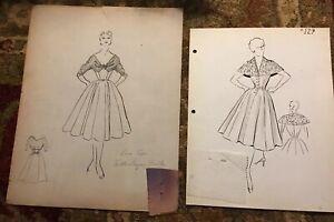 Original Art Vintage Hand Drawn Dresses Fashion Design Sketches & Swatches 1950s