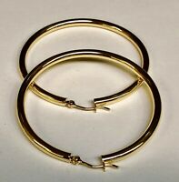 "Fashion 14k Yellow Gold 3.0mm x 50mm (2"") Round Shiny Runway Tube Hoop Earrings"
