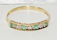 VINTAGE 9ct Oro Giallo Smeraldo & Diamante Eternity Anello donna-Taglia V