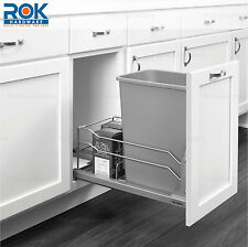 Silver Undermount Soft Close Pull Out Kitchen Cabinet Trash Can Container System