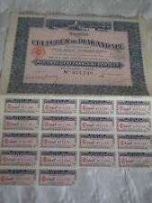 Vintage share certificate Stock Bonds action societe cultures de diakandape 1937
