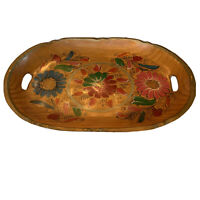 Vintage Hand Painted Wood Serving Tray Floral Design