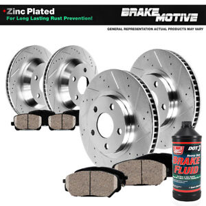 Front + Rear Drilled Brake Rotors and Ceramic Pads For Jeep Liberty Dodge Nitro