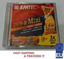 3pcs Pack Emtec Mini DVD-R 1.4GB disc Slim Box Case Speed 1x 2x 4x blank