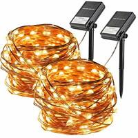 [2 Pack] KooPower Solar and Battery Dual Powered Fairy Lights, 100 LEDs 10m