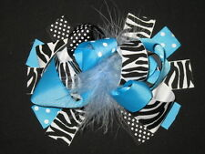 "NEW ""BLACK BLUE ZEBRA"" Fur Hairbow Alligator Clips Girls Ribbon Bows 5.5 Inches"