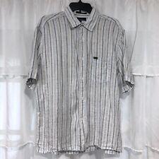 Medium Mens - FACONNABLE Striped Linen Short Sleeve Shirt