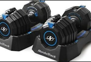 NordicTrack NTSAW5018 Adjustable Dumbbells with Storage Tray - 50lb PAIR