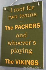 Green Bay Packers versus The Vikings Sign  Football Bar Jersey Tickets Cards