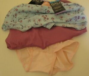 3 Bali  Skimp Skamp Briefs size 9 Style A633 print and solids