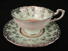 PARAGON BONE CHINA TEA CUP & SAUCER SET LIME GREEN & SILVER ENGLAND
