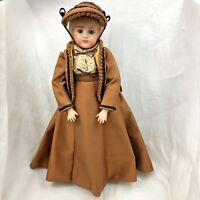 """Vintage Victorian Doll 1982 Homemade Dress Hat Clothes Pierced Ears Jointed 16"""""""