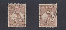 AUSTRALIA #52 Used 2 Stamps 2sh Brown 1916 KANGAROO SCV $55