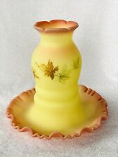 Vintage Fenton Burmese Handpainted Autumn Leaves One Piece Fairy Lamp