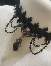 Ornate Black Lace Choker Heart Beaded Necklace Gothic Halloween Victorian Punk
