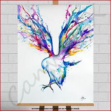 Abstract Eagle Framed Canvas Picture Print Water Colour Paint Splash Watercolour