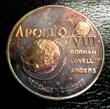 APOLLO 8 SILVER PLATE PROOF COMMEMORATIVE BORMAN LOVELL ANDERS BEAUTIFUL TONED A