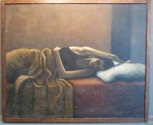 Donald McFadyen (1960-2005) RARE American Oil Painting GIRL RECLINING ON A BED