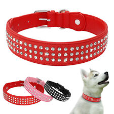 Bling Rhinestone Dog Collar Crystal Leather Necklace for Small Medium Large Dogs