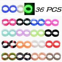 18 PAIRS-ULTRA THIN SKINS TUNNELS-Silicone Ear Skins-Ear Gauges-Soft Ear Plugs