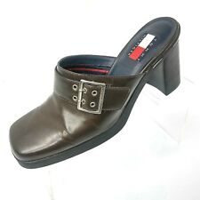 05291a7552d79b Vintage Tommy Hilfiger Womens Shoes Brown Leather Clogs Mules Size 8 Medium