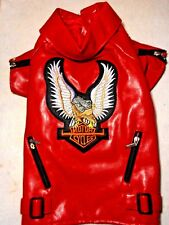 "(SM BREED: XS,XL size ) RED PU LEATHER BIKER PET JACKET W/ "" MOTOR CYLES""  PATCH"