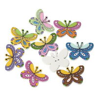 100pcs Mixed 2 Holes Butterfly Wooden Wood Buttons Fit Sewing Scrapbook 25x17mm