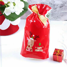 10 Pcs Christmas Gift Bags Deer Xmas Party Drawstring Packing Stocking Decor DIY