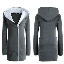 Womens Long Hoodie Hooded Jacket Winter Zipper Pullover Coat Outwear Plus Size