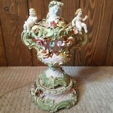 Porcelain Capodimonte Very Large Vintage Italian Cherub Lamp With Flowers