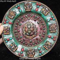 "8""  Tibet Turquoise Coral Inlay Gem 8 Auspicious Symbol Plate Folding Screen"