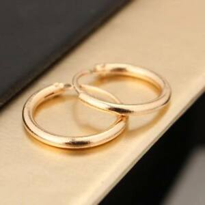 South Korea Elegant Surgical Silver Gold Filled Women's Round Hoop Earrings