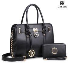 New Dasein Womens Handbags Medium Faux Leather Satchel Padlock Pursew/ Wallet