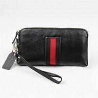 Women Soft Genuine Leather Zip-Around Clutch Bag Phone Purse Wristlet