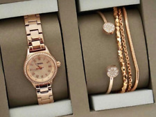 FOSSIL Women's 3-PC SET Rose Gold Roman Crystals Watch & 2 Bracelets BQ3148SET