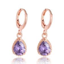 Pretty New 18K Rose Gold Plated Amethyst Purple Pear Teardrop CZ Dangle Earrings